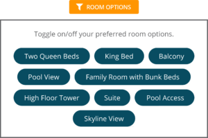 booking engine room attributes filtering
